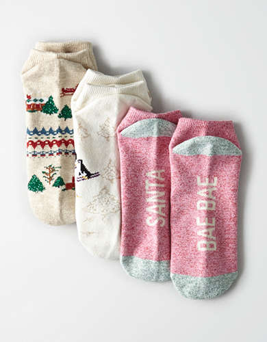 AEO Gingerbread Lodge Ankle Sock 3-Pack -