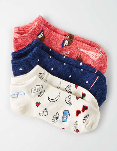 AEO French Sloth Ankle Sock 3-Pack -