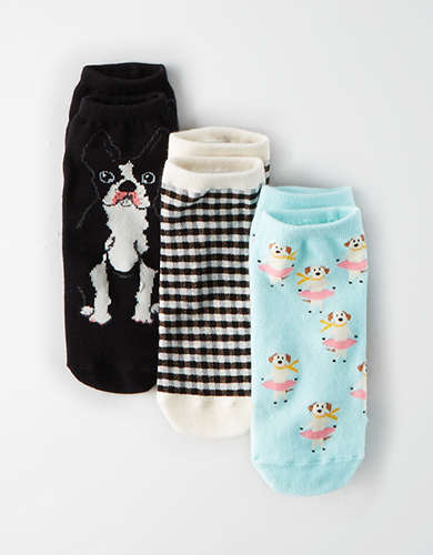 AEO French Bulldog Ankle Sock 3-Pack -