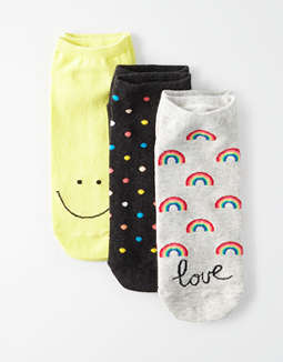 AE Rainbow Love Ankle Socks 3-pack