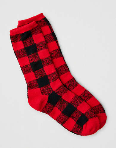 AEO Buffalo Plaid Crew Sock