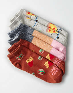 AEO Skateboard Pizza Ankle Socks 3-Pack