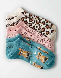AEO Leopard Ankle Socks 3-Pack