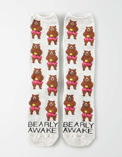 AEO Bearly Awake Crew Sock