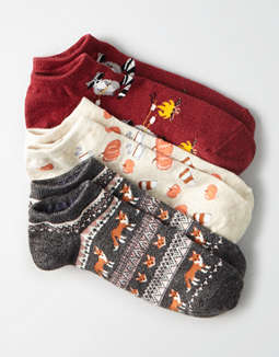 AEO Fall Critters Ankle Socks 3-Pack