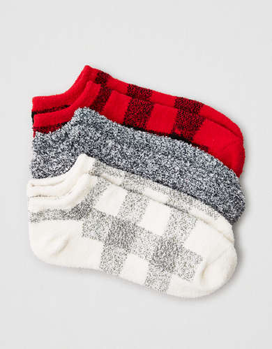 AEO Cozy Buffalo Plaid Ankle Socks 3-Pack