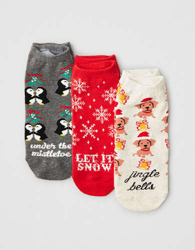 AEO Festive Songs Ankle Socks 3-Pack