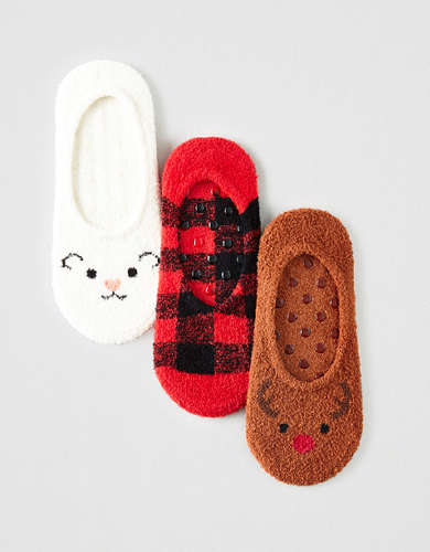 AEO Cozy Critter No-Show Socks 3-Pack