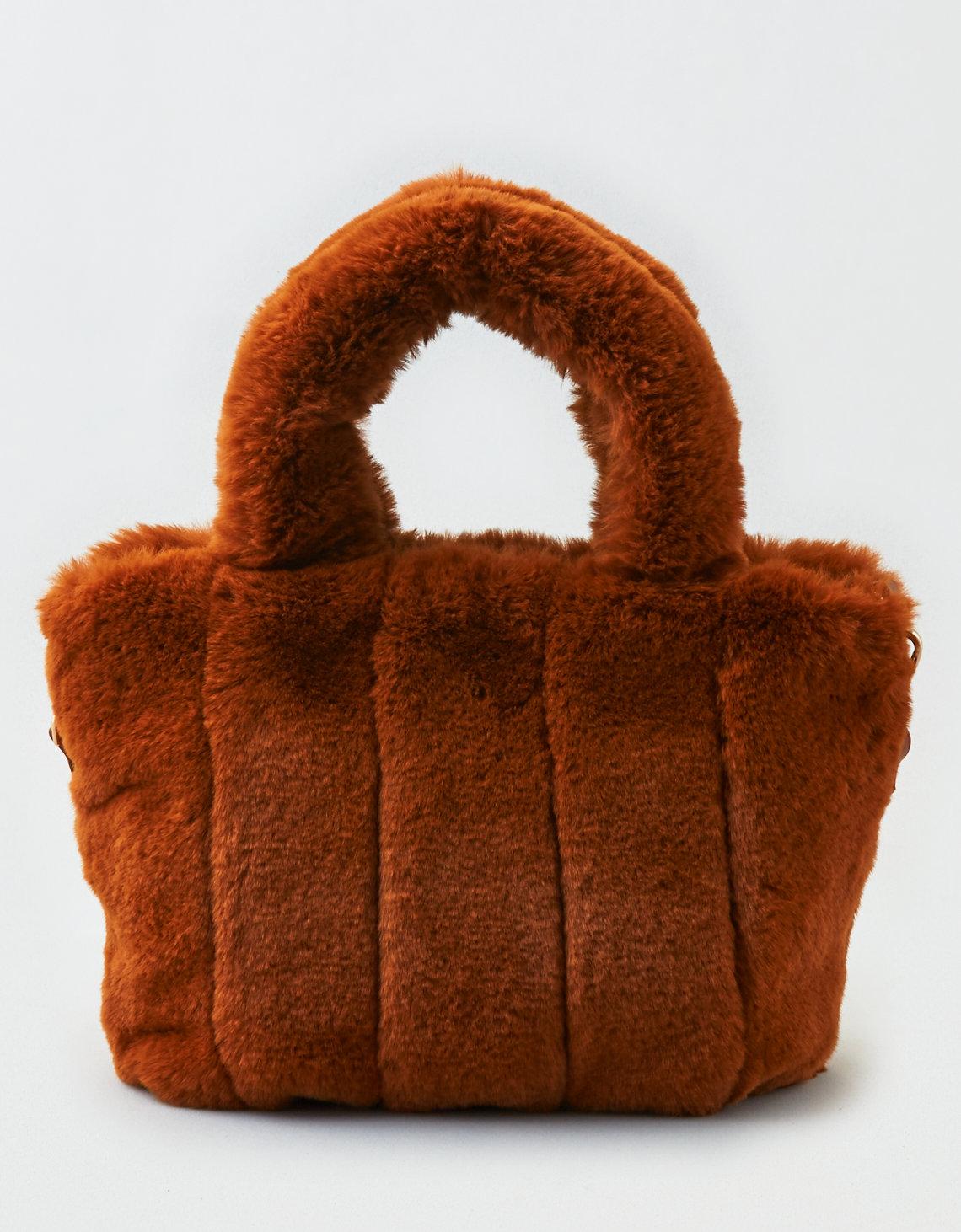 aeo street level faux fur bag, rust