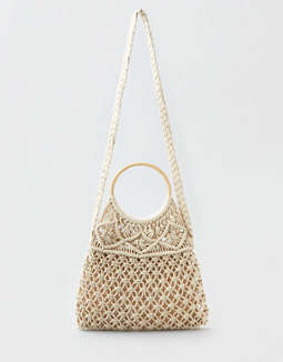Ae Wooden Handle Macrame Bag by American Eagle Outfitters