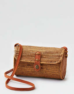 Street Level Woven Straw Shoulder Bag