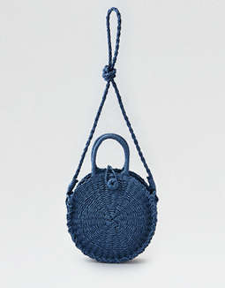 Street Level Woven Straw Crossbody