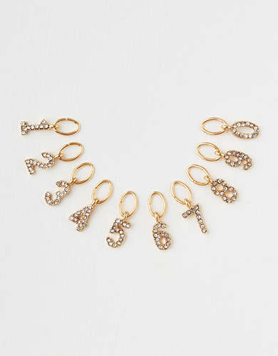 AE Pave Gold Number Charms 10-Pack - Create Your Own Jewelry