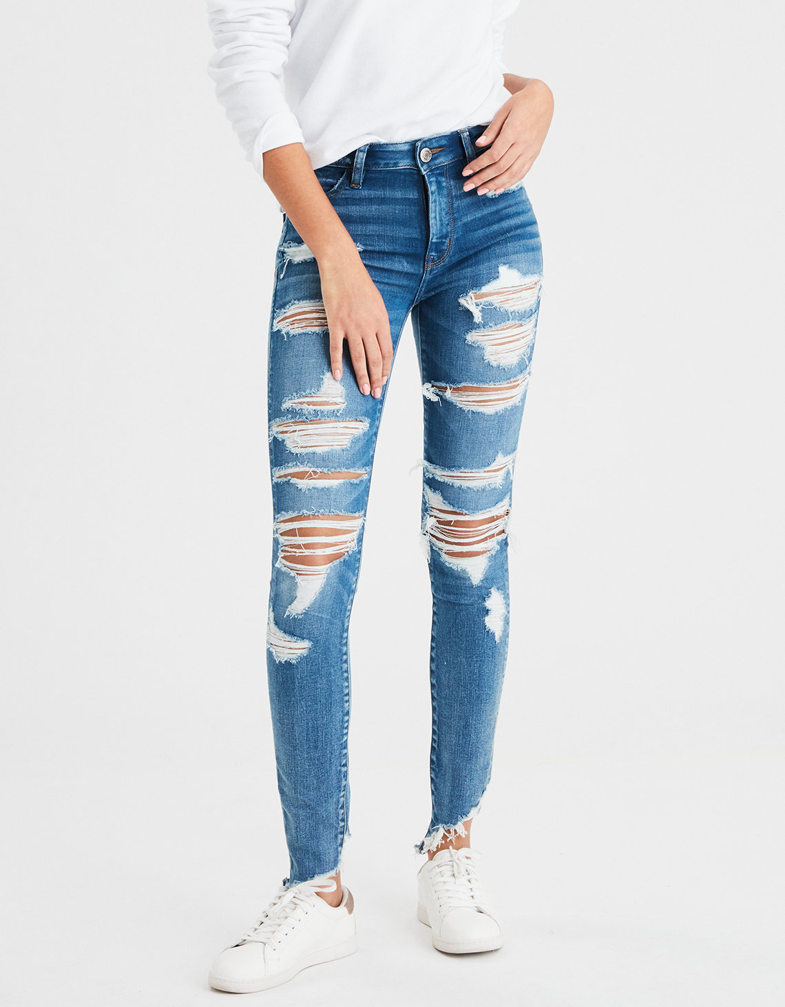 Ae Ne X T Level High Waisted Jegging Super Destroy American Eagle