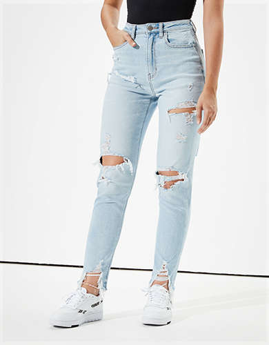 AE Stretch Ripped Highest Waist Mom Jean