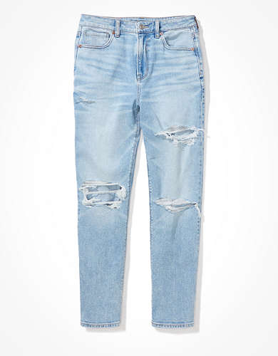 AE Stretch Ripped Mom Straight Jean