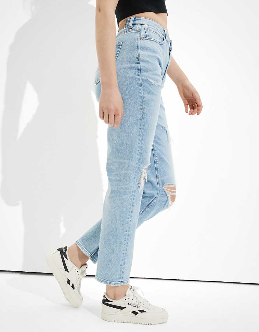 AE Stretch Ripped Mom Straight Jean