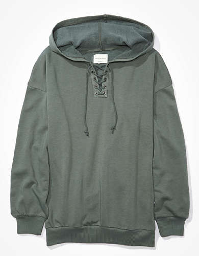 AE Fleece Oversized Lace Up Hoodie