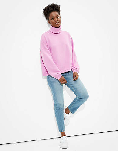 AE Textured Fleece Cropped Mock Neck Sweatshirt