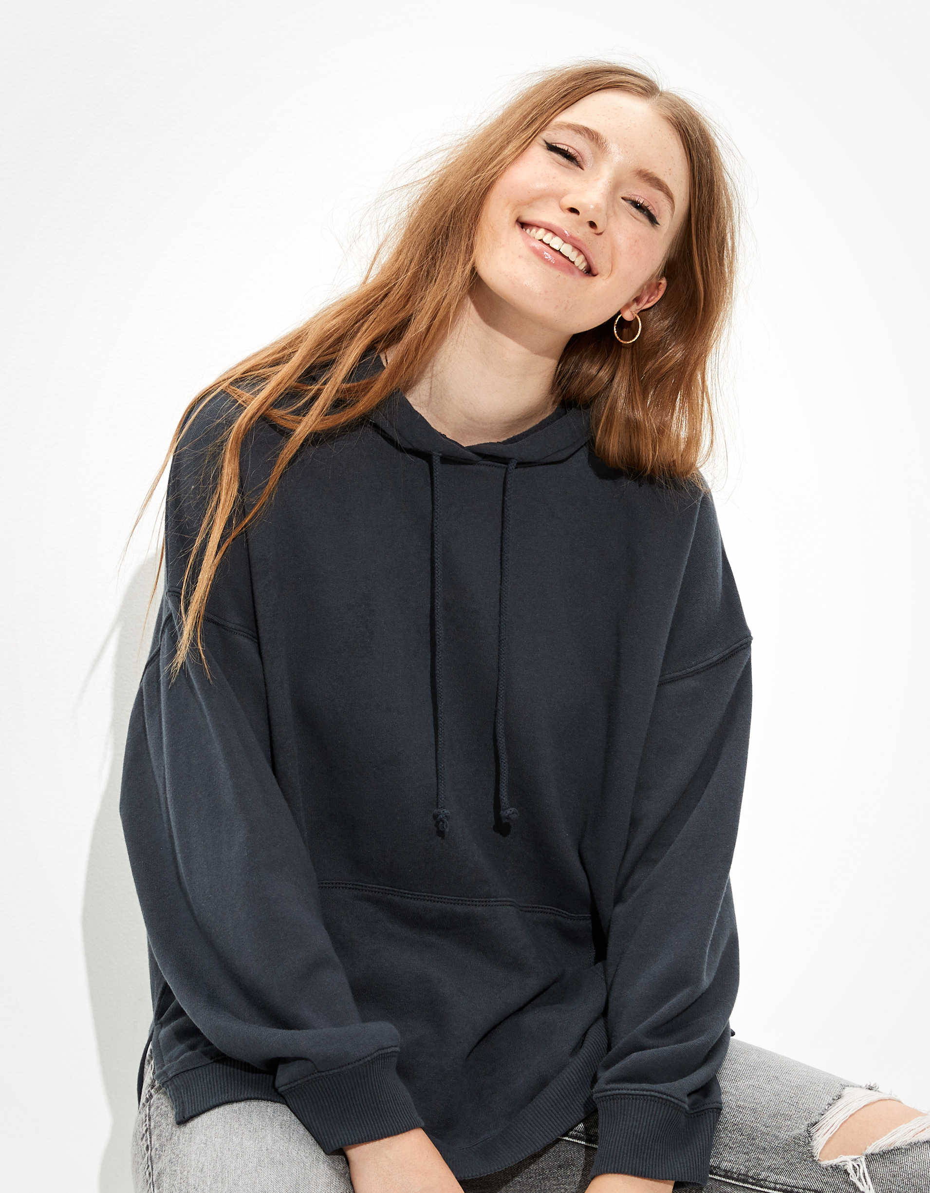 AE Fleece Oversized Side Slit Hoodie