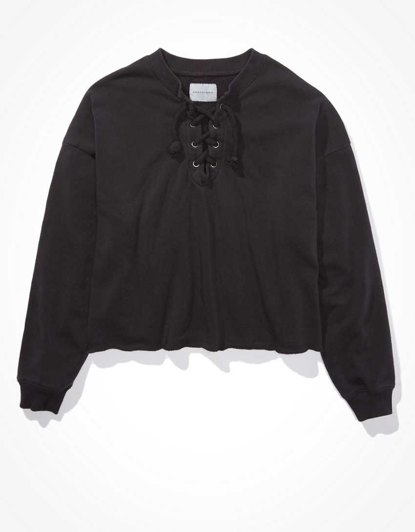 AE Fleece Cropped Lace Up Sweatshirt