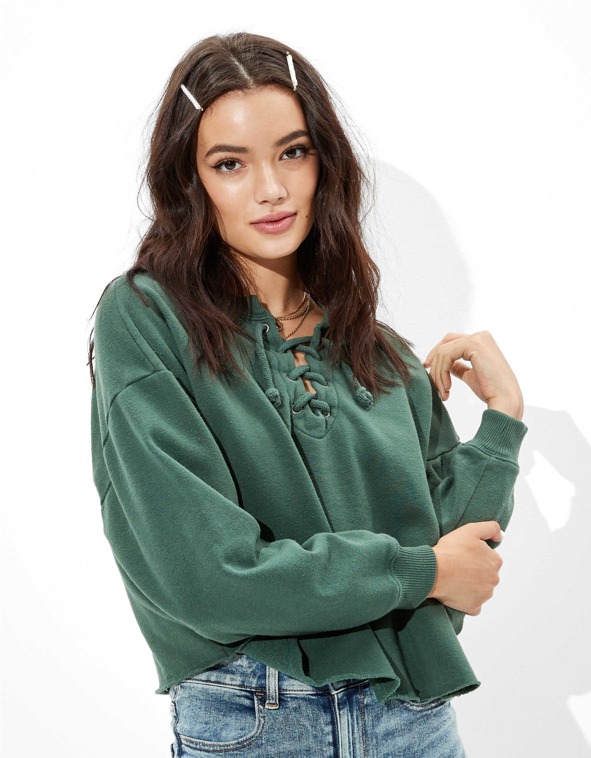 AE Fleece Cropped Lace Up Sweatshirt