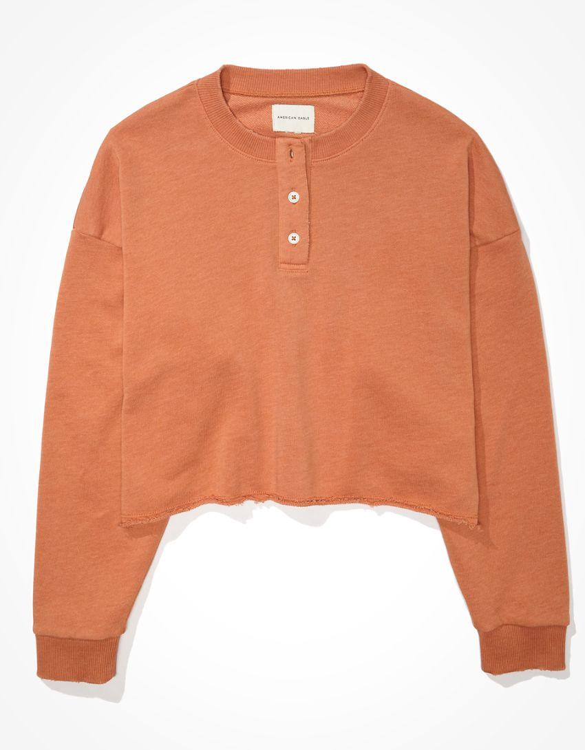 AE Fleece Cropped Henley Neck Sweatshirt