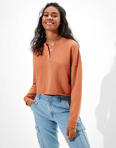 AE Fleece Cropped Henley Neck Sweatshirt