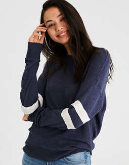 Ae Plush Arm Stripe Crew Neck Sweatshirt by American Eagle Outfitters