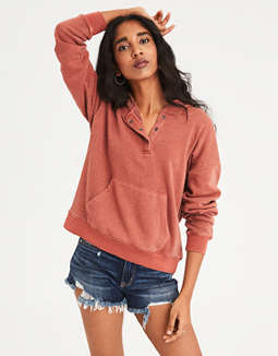 Ae Henley Pullover Hoodie by American Eagle Outfitters