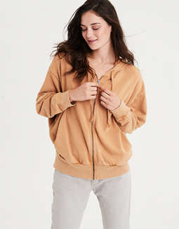 Ae Ahhmazingly Soft Oversized Full Zip Hoodie by American Eagle Outfitters