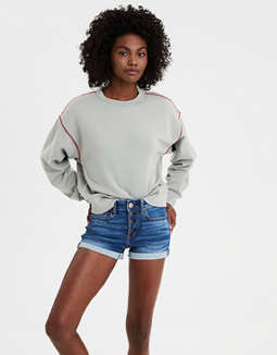 Ae Ahhmazingly Soft Embroidered Trim Crew Neck Sweatshirt by American Eagle Outfitters
