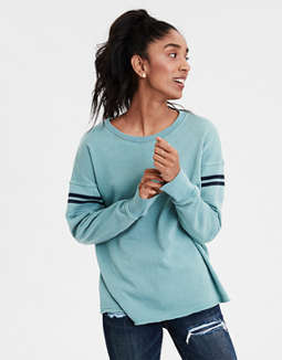 Ae Ahhmazingly Soft Arm Stripe Crew Neck Sweatshirt by American Eagle Outfitters
