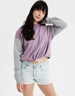 AE Colorblock Cinched Sweatshirt