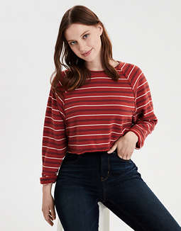AE Striped Crew Neck Cropped Sweatshirt