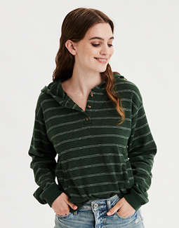 AE Striped Henley Cropped Hoodie