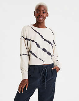 AE Fleece Wide Hem Cropped Sweatshirt