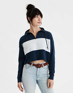 AE Colorblock Quarter Zip Sweatshirt