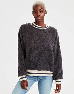 AE Sherpa Striped Crew Neck Sweatshirt