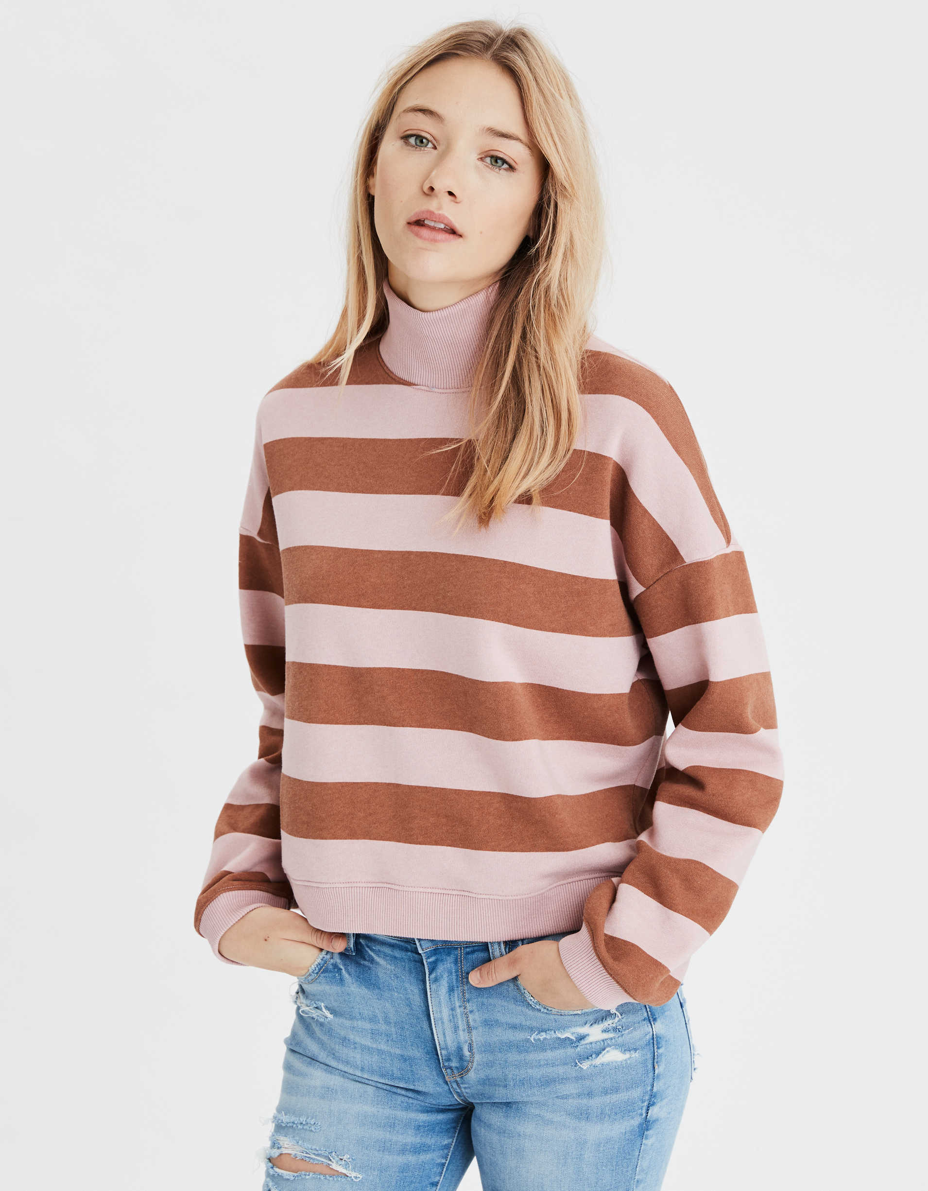 AE Fleece Cropped Mock Neck Sweatshirt