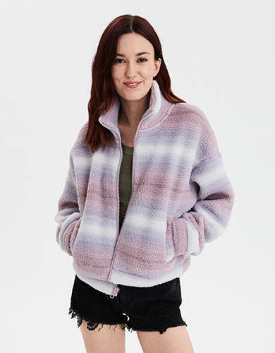 AE Sherpa Zip Front Mock Neck Sweatshirt