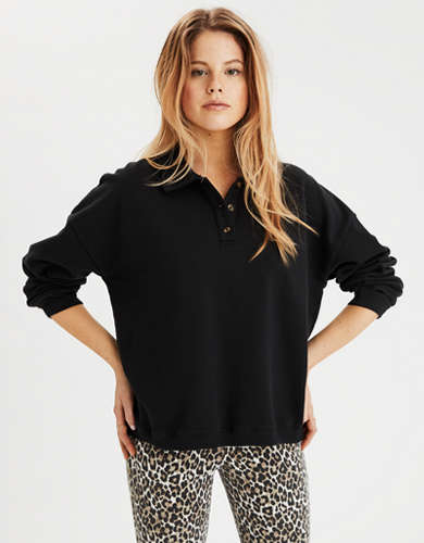 AE Fleece Cropped Henley Sweatshirt