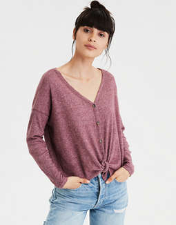 AE Plush V-Neck Button Up Sweatshirt