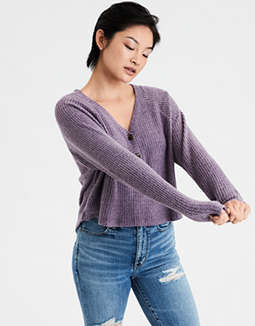 AE Plush Cropped Henley Sweatshirt