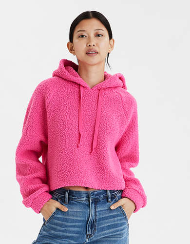 AE Fuzzy Sherpa Cropped Hoodie