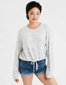 AE Plush Bubble Sleeve Cropped Sweatshirt