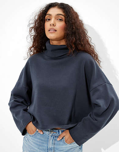 AE Forever Cropped Turtleneck Sweatshirt