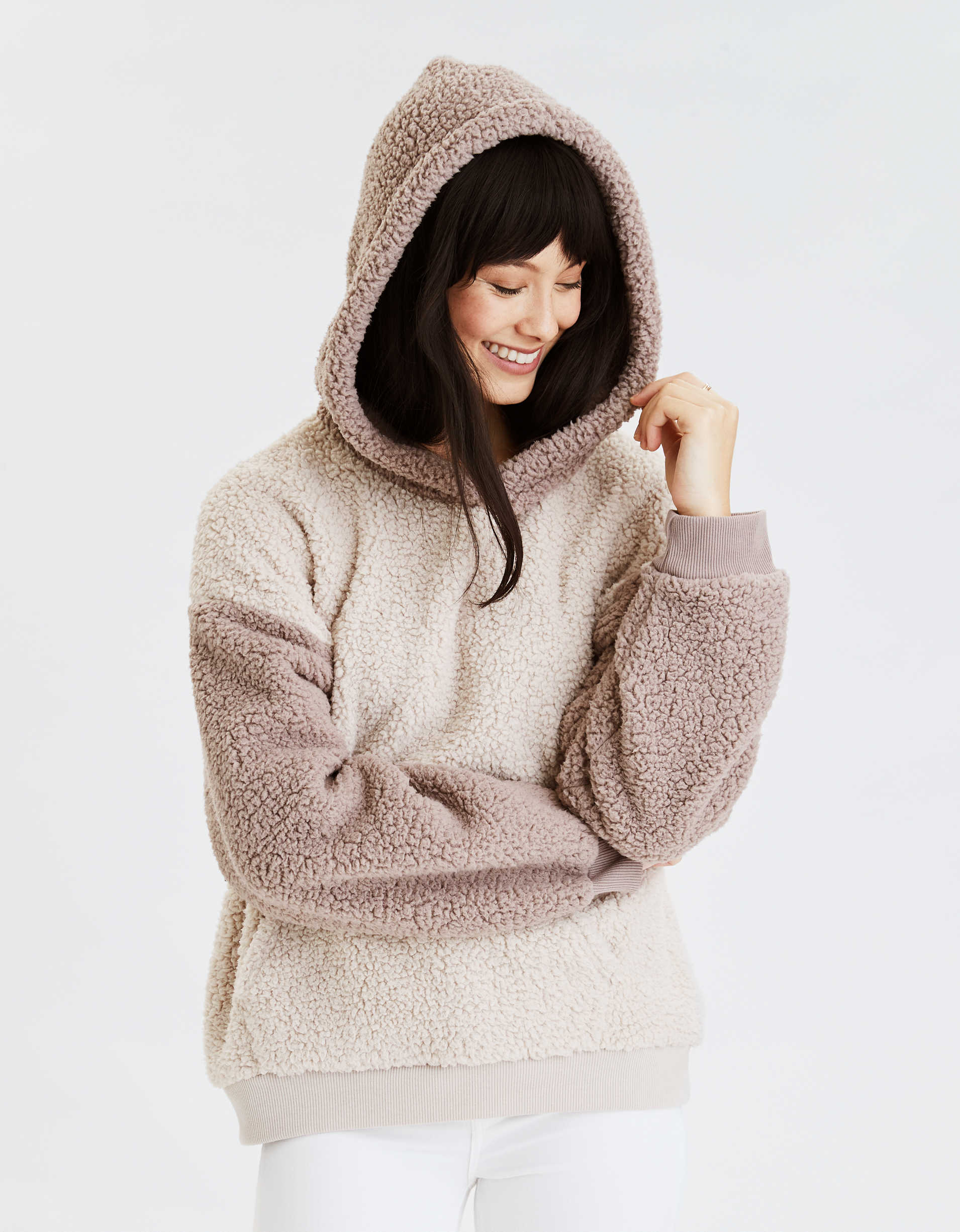 AE Fuzzy Sherpa Color Block Oversized Hoodie