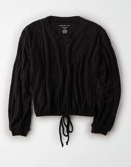 aa10f116e2cb1 placeholder image AE Plush Bubble Sleeve Cropped Sweatshirt ...