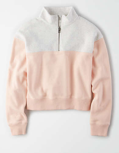 AE Fleece Color Block Half Zip Sweatshirt